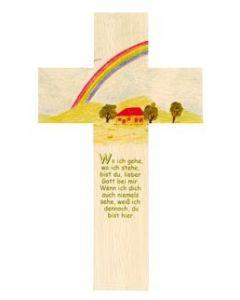 Holzkreuz Regenbogen -Kindergebet -