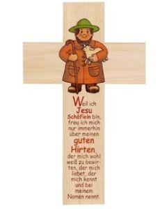 Holzkreuz Hirte für Kinder -eckig-