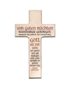 """Holzkreuz Kreuz """"Von guten Mächten"""" - eckig"""