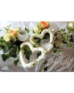 Zur Hochzeit - Faltkarte (Motiv Herzen)