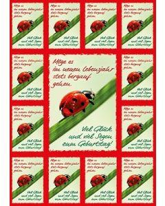 Aufkleber-Gruß-Karten: Geburtstagssegen - 4 Stück