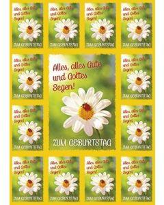 Aufkleber-Gruß-Karten: Zum Geburtstag - 4 Stück