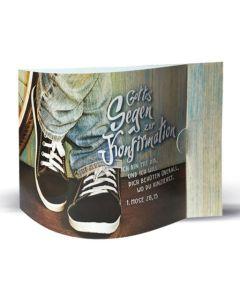 Aufstellkarte-Duo: Gottes Segen zur Konfirmation - Motiv: Schuhe