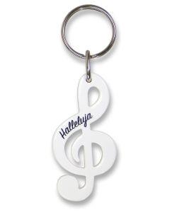 """Schlüsselanhänger Notenschlüssel """"Halleluja"""" - weiß"""