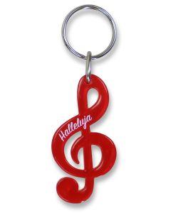 """Schlüsselanhänger Notenschlüssel """"Halleluja"""" - rot"""