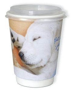 """Puzzle-Cup """"Gott ist bei dir - jeden Tag Mt 28,20"""" - Hundemotiv"""