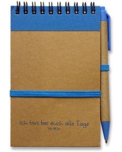 """Notizbuch """"Ich bin bei euch alle Tage"""" - blau"""