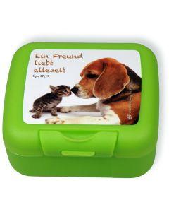"""Frühstücksbox """"Ein Freund liebt allezeit"""" - grün"""