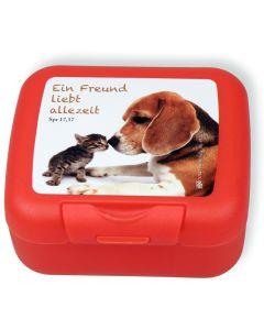 """Frühstücksbox """"Ein Freund liebt allezeit"""" - rot"""