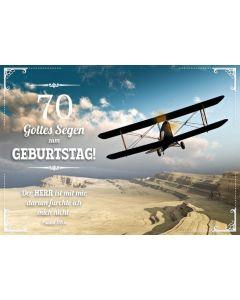 """Faltkarte """"Flugzeug"""" -  70. Geburtstag"""