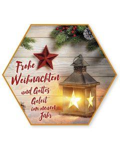"""Schafmilchseife Stern """"Frohe Weihnachten und Gottes Geleit"""""""
