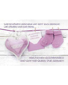 Faltkarte: Willkommen kleines Mädchen - rosa