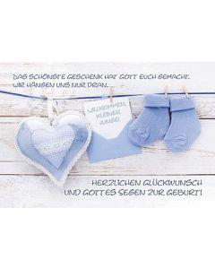 Faltkarte: Willkommen kleiner Junge - blau