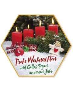 """Schafmilchseife Stern """"Frohe Weihnachten"""" (Kerzen)"""