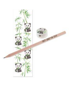 """Bleistift mit Radiergummi und Lesezeichen """"Panda"""""""