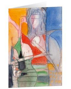 "Kunstkarten ""Frau mit Geige"" - 5 Stk"