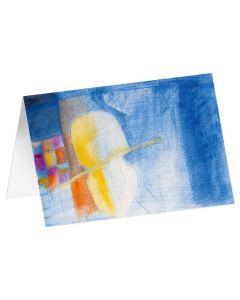 """Kunstkarten """"Gelbes Streichinstrument"""" - 5 Stk"""