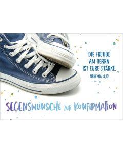 "Faltkarte ""Blaue Sneakers"" - Konfirmation"