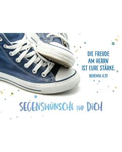 "Faltkarte ""Blaue Sneakers"" - Bibl. Unterricht"