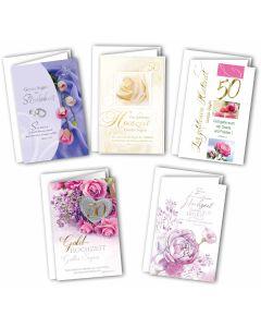 Faltkarten - Hochzeitsjubiläum 5er Set