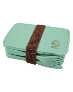 Brotdose mit Besteck - grün