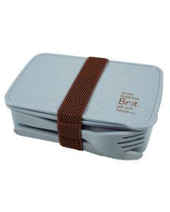 Brotdose mit Besteck (recycelt) - blau