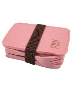 Brotdose mit Besteck (recycelt) - rosa