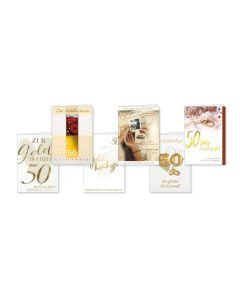Faltkarten Goldhochzeit - 6er Set