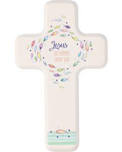 """Holzkreuz für Kinder """"Jesus ist mitten unter uns"""""""