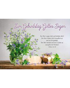 Postkarten: Zum Geburtstag Gottes Segen, 4 Stück