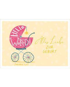 """Faltkarte """"Hello World - Kinderwagen """" - Geburt"""