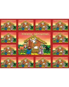 Aufkleber-Gruß-Karten: Fröhliche Weihnachten, 4 Stück